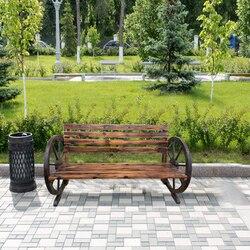 Panana Stilvolle Garten Holzbank mit Wagon Rad 2 Sitzer Bank Terrasse Möbel