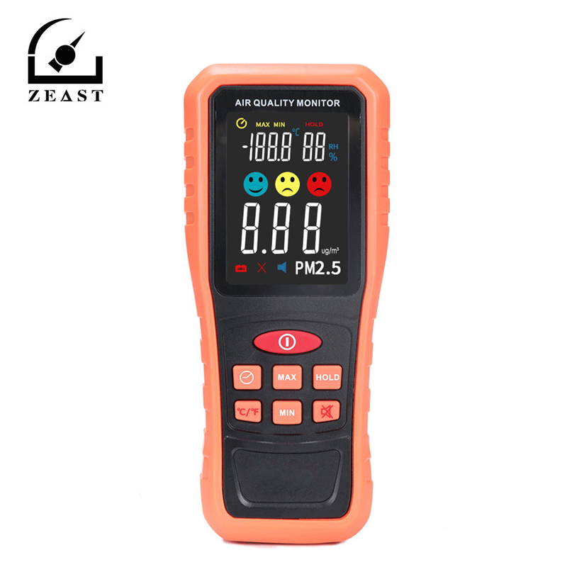 New Handheld PM2.5 Detector Range 0~1000mg/m3 Air Quality Tester Temperature and Humidity Measurement 145mmx63x37mmNew Handheld PM2.5 Detector Range 0~1000mg/m3 Air Quality Tester Temperature and Humidity Measurement 145mmx63x37mm