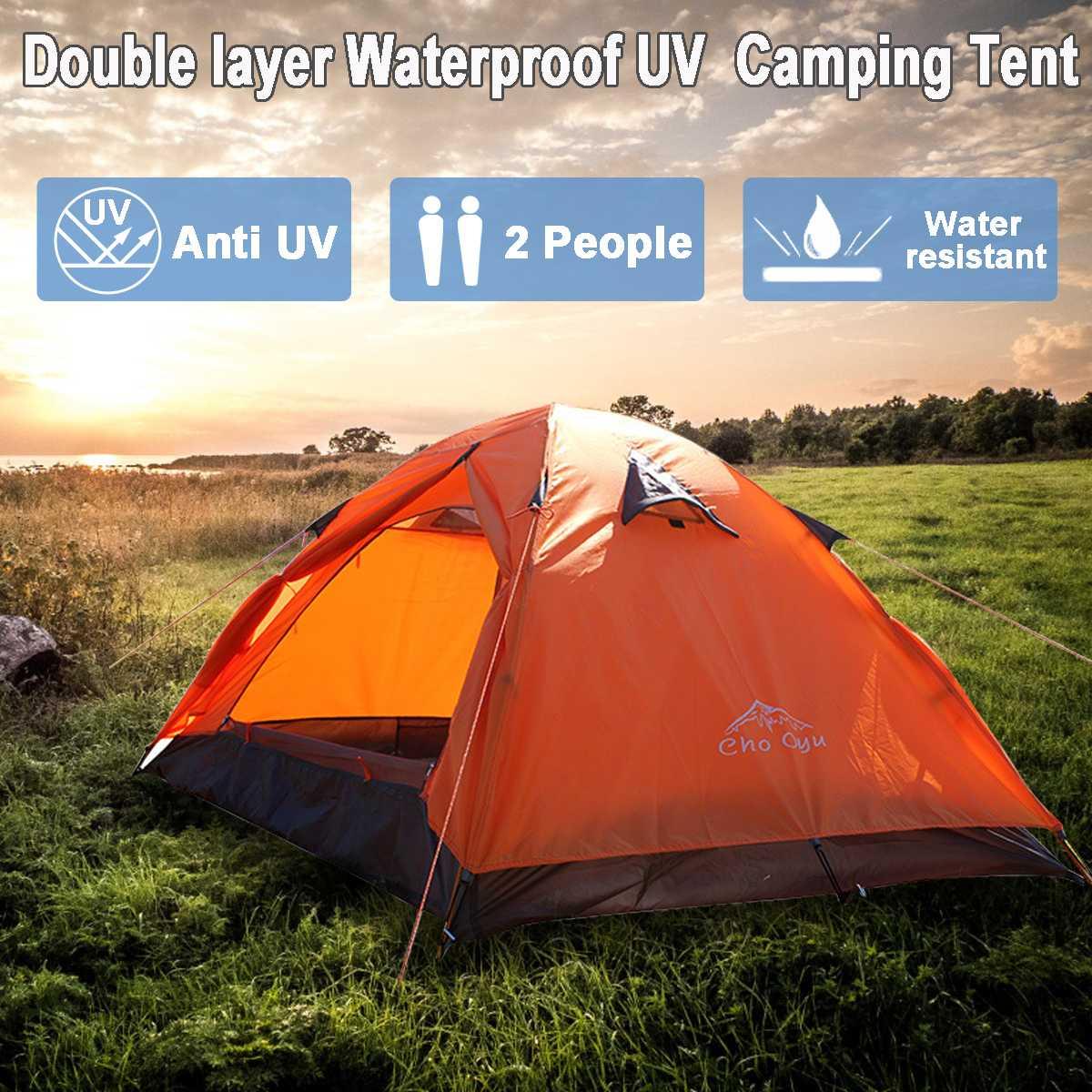 2 personnes Double couche étanche UV famille Camping extérieur Sunshelter randonnée aventure instantanée plage tente 4 saisons