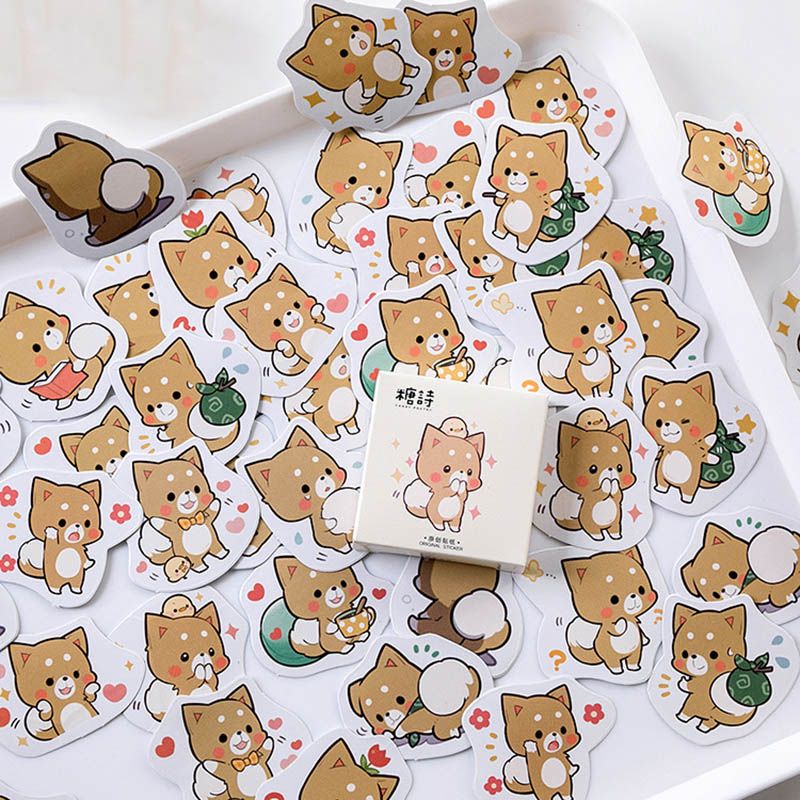 45Pcs Kawaii Stationery Stickers Cute Dog Stickers Lovely Adhesive Paper Stickers For Kids  Diary Photo Decorative Scrapbooking