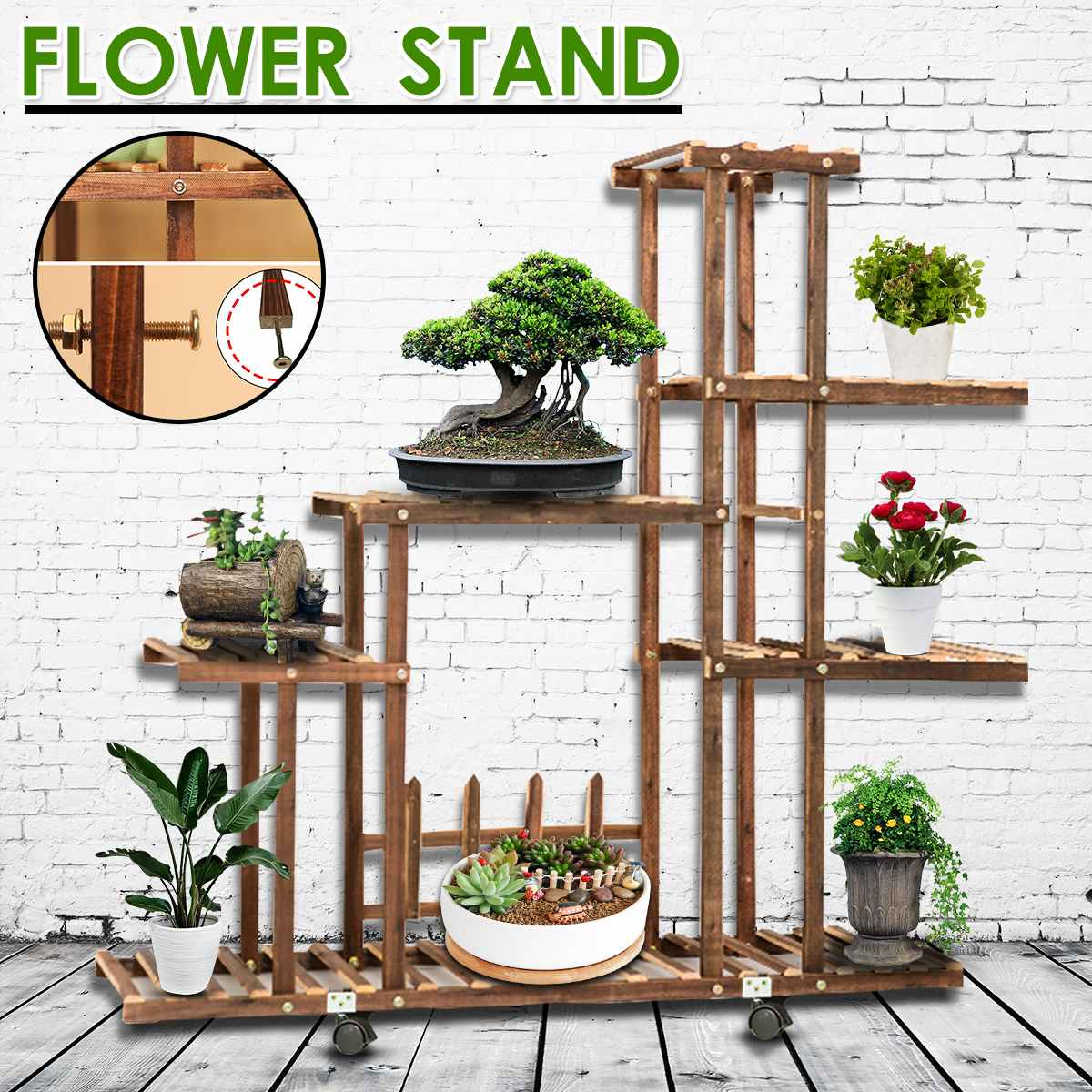 Wooden Wall Storage Rack Stand Shelf Holder Household Storage Stand Wood Storage Box Potted Plant Shelves Home DecorWooden Wall Storage Rack Stand Shelf Holder Household Storage Stand Wood Storage Box Potted Plant Shelves Home Decor