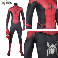 Ling Bultez High Quality New Rubber Logo Black Details FFH Spider Man Cosplay Costume For Men FFH Spider Man Costume With Detail