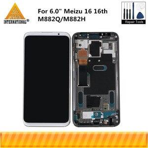 """Image 1 - 6.0 """"מקורי סופר Amoled עבור Meizu 16 16th M882Q/M882H Axisinternational LCD תצוגת מסך עם מסגרת + מגע פנל Digitizer"""