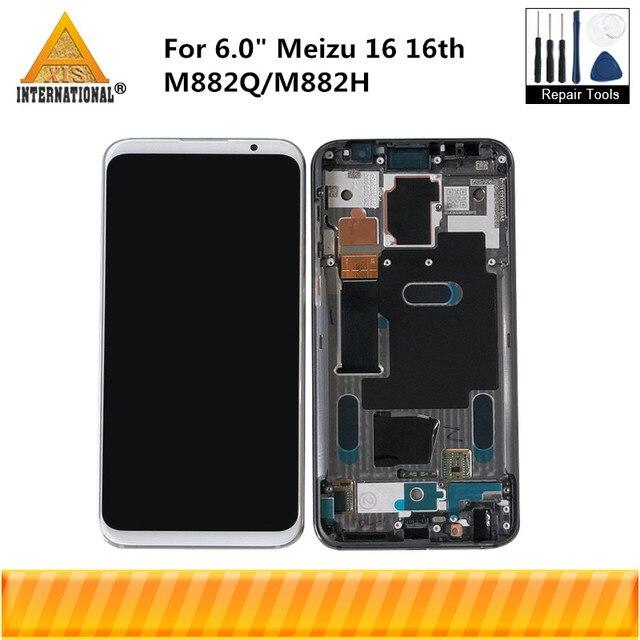 """6.0 """"מקורי סופר Amoled עבור Meizu 16 16th M882Q/M882H Axisinternational LCD תצוגת מסך עם מסגרת + מגע פנל Digitizer"""