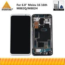 """6.0 """"Meizu 16 용 슈퍼 Amoled 16 번째 M882Q/M882H Axisinternational LCD 디스플레이 화면 + 터치 패널 디지타이저"""