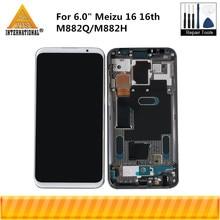 """6.0 """"original super amoled para meizu 16 16th m882q/m882h axisinternational tela lcd com quadro + digitador do painel de toque"""