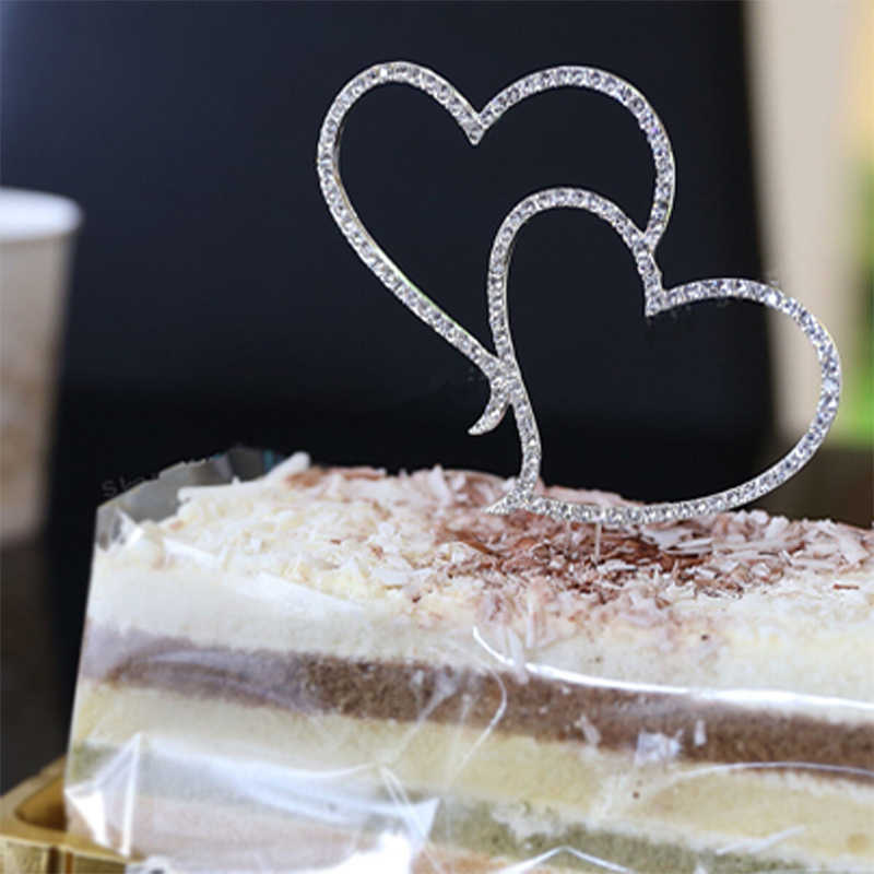 New Cake Topper Romantic Crystal Rhinestone Silver Double Heart Cake Topper Wedding Decoration New Year Decor