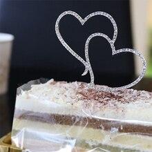 Yeni kek Topper romantik kristal Rhinestone gümüş çift kalp kek Topper düğün dekorasyon yeni yıl dekor