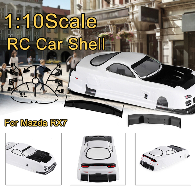 1/10 Clear RC Car Shell Modification For Mazda RX7s Wheelbase 250mm PVC 1:10 Painted Body Shell with Spoiler Part