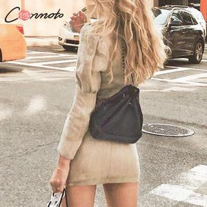 Image 4 - Conmoto Women Casual Long Sleeve Blazer Dress 2019 Winter New Female V Neck Button Slim Short Dress Fashion Office Ladies Dress