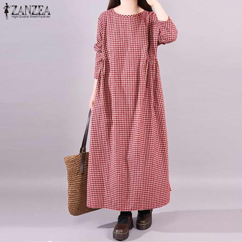 2019 размера плюс ZANZEA весеннее женское повседневное винтажное клетчатое Свободное длинное платье-рубашка с О-образным вырезом и длинным рукавом