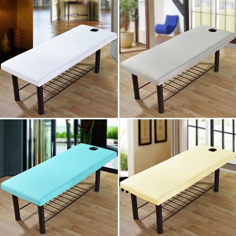 Professional Cosmetic Salon Sheets SPA Massage Bed Table Cover Sheet Solid Couch Forepart Hole Elastic All-round Wrap#136