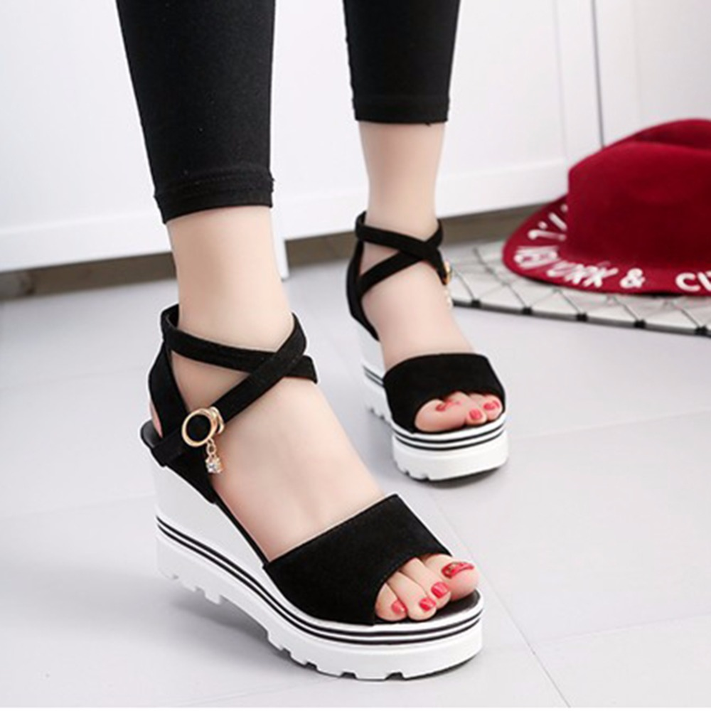 2019 Women's Fashion Heeled Sandals Summer Shoes Womans Wedges White Aneikeh Bohemian Sandale Beach Feminine Zandalias