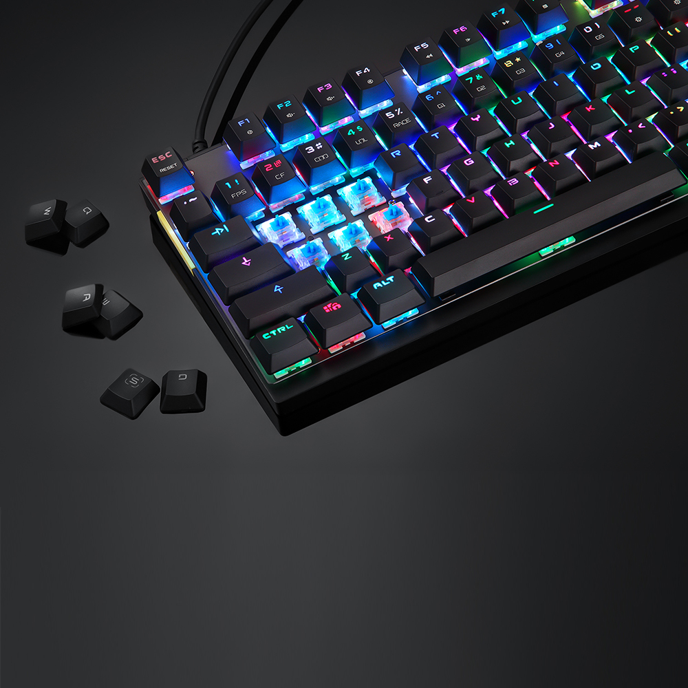 Motospeed K82 USB Wired Gaming Mechanical Keyboard with RGB Backlight All-key Anti-ghost Pink/Black color Blue Switch With Box juexie x100 usb 2 0 104 key wired gaming keyboard w 3 color backlight black white