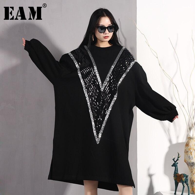[EAM] 2019 nouveau printemps été col rond à manches longues noir lâche paillettes Split Joint grande taille robe femmes mode marée JO364