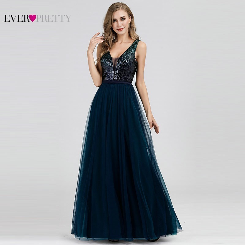 Sexy Vestidos de Noite Sempre Bonitas EP07392NB Lantejoulas A Linha V-Neck Azul Marinho Longos Vestidos Formais 2019 Robe De Soirée Paillette