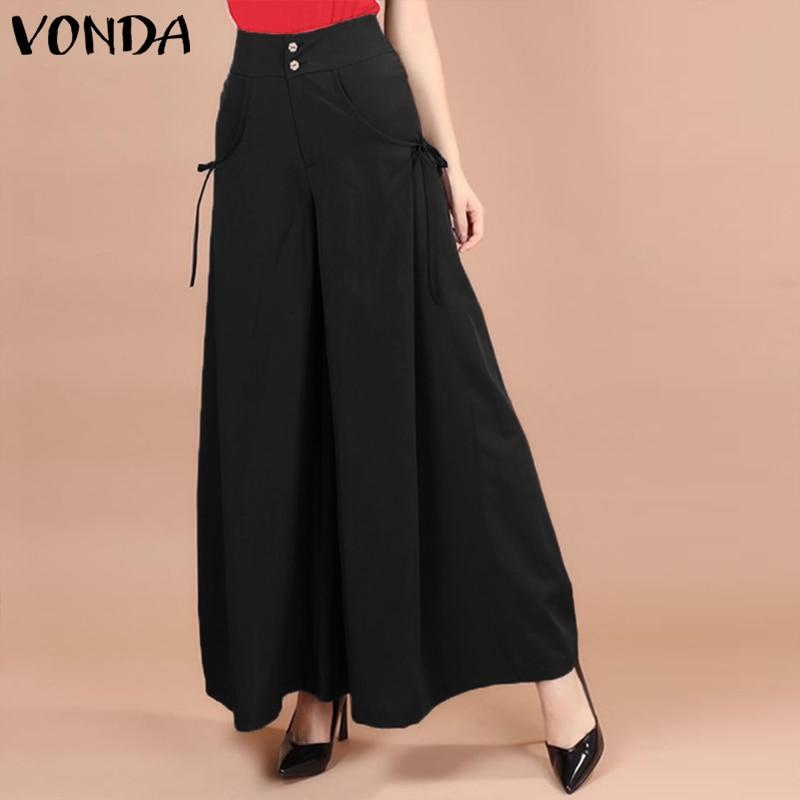 VONDA Fashion Casual Loose Elastic Waist Office Ladies Pants 2019 Spring Wide Leg Pants Women Trousers Female Bottoms Plus Size