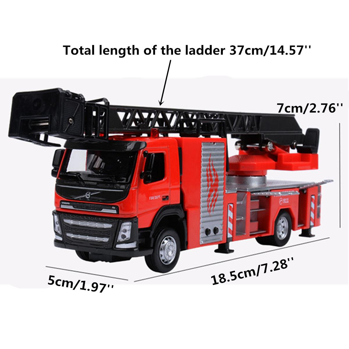 1:50 Scale Ladder Fire Engine Truck Toy Vehicles Models Alloy Model Car With Sound Light Diecast Metal Car Model Boy Child Gifts