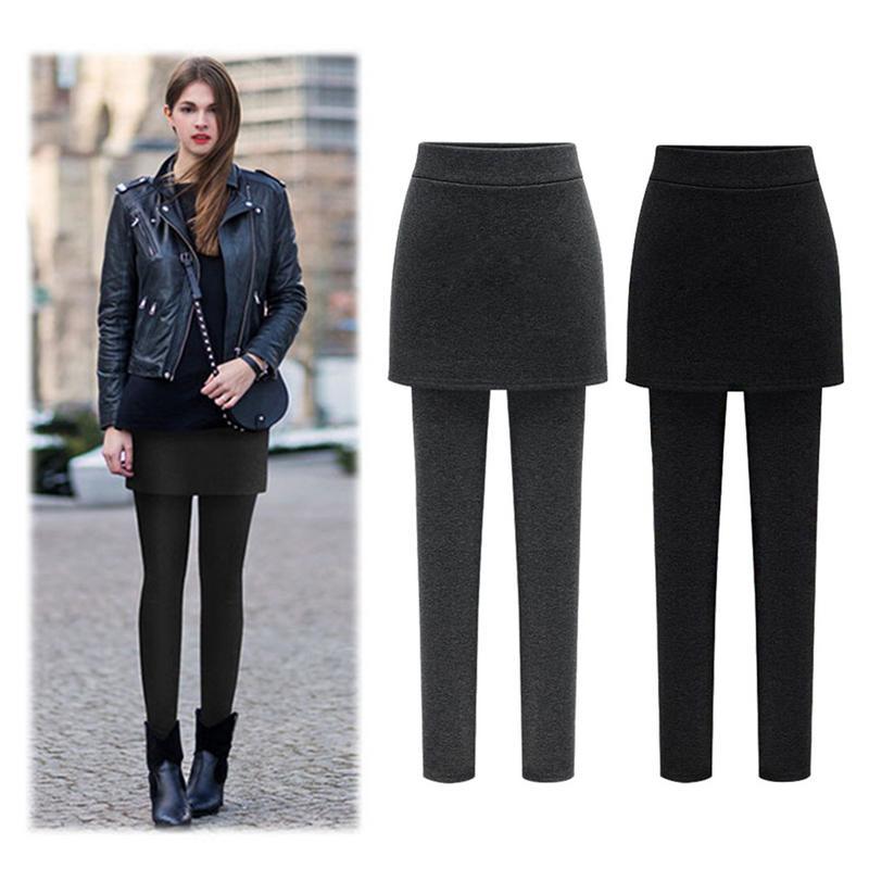 Fake Pleated/A-lined Skirt Female Slim Winter Leggings Thicken Material High Waist Women Winter Outwear Leggings Plus Size 3XL