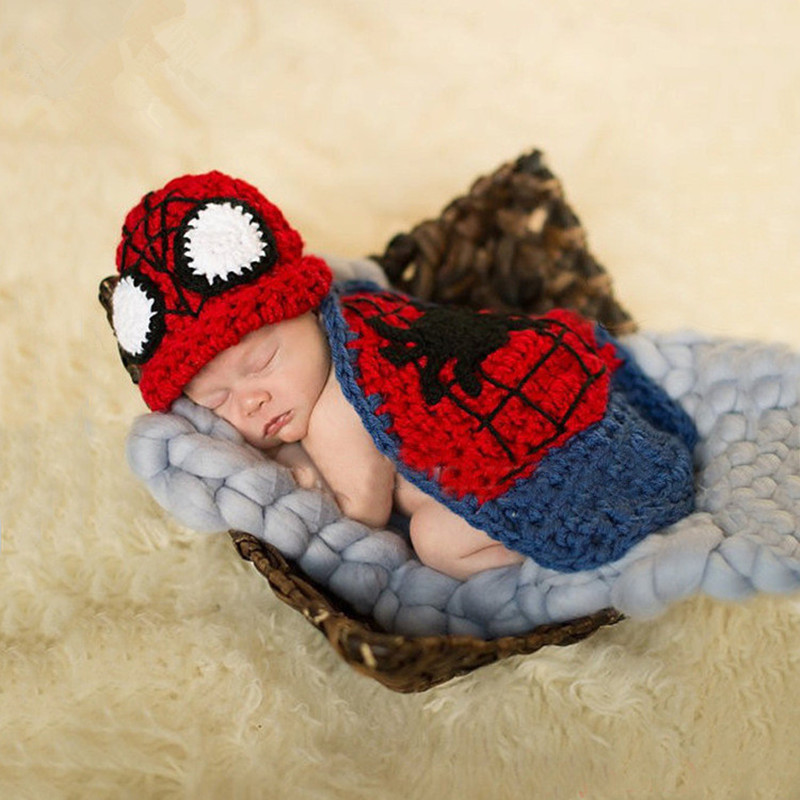 Newborn Baby Photography Props Spiderman Shape Clothing Baby Photo Shoot Knitted Hat Outfit Studio Baby Photography Accessories
