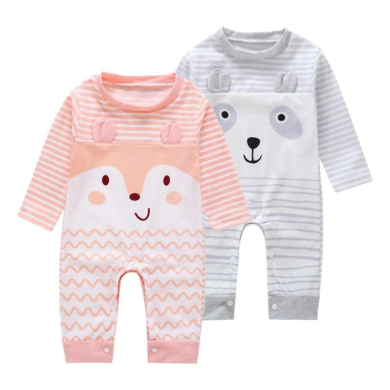 Winter Baby Romper Baby Clothes Set Cartoon Animal Stripe Newborn Baby Rompers Warm Cute Soft Jumpsuit Cotton O-Neck Clothing