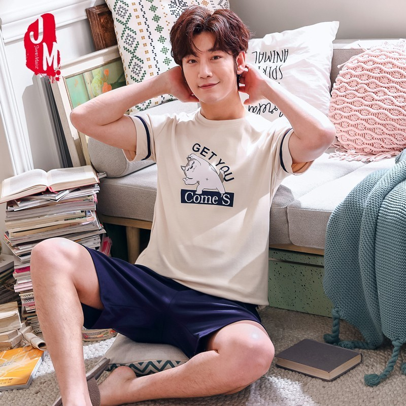 Men Pajamas Set Cartoon 100% Cotton Big Size L-4XL Pyjama Short Top Pant Casual Sleepwear Suit Striped Letter Male Loungewear