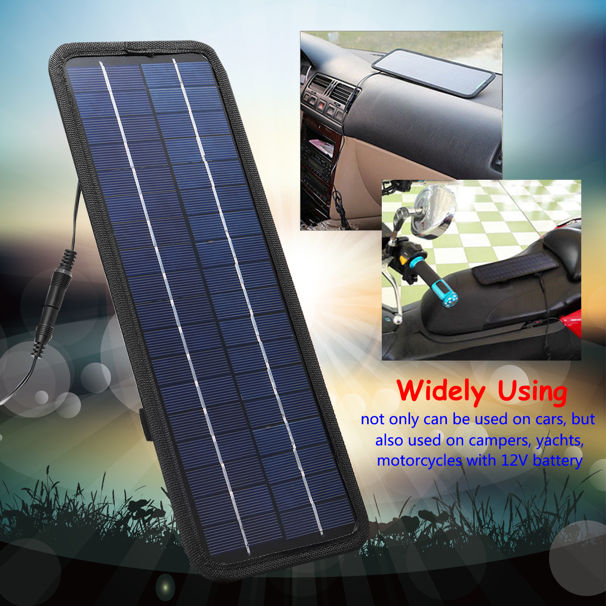 4.5W 12V Portable Boat Car Solar Panel  Single Crystal Silicon Trickle Battery Charger USB Outdoor PowerLightweight Safe Protect4.5W 12V Portable Boat Car Solar Panel  Single Crystal Silicon Trickle Battery Charger USB Outdoor PowerLightweight Safe Protect