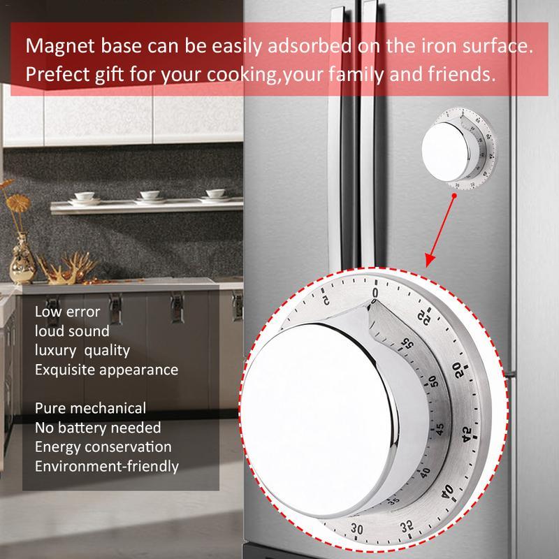 Timer de cozinha Com Base Magnética Aço Inoxidável Manual de Mecânica Timer De Cozinha Contagem Regressiva Cozinhar Ferramentas Gadgets de Cozinha