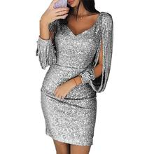 MISSKY Women Dress Solid Color Sexy V-neck Slim Sequined Tassel Long Sleeve Dress Female Cl