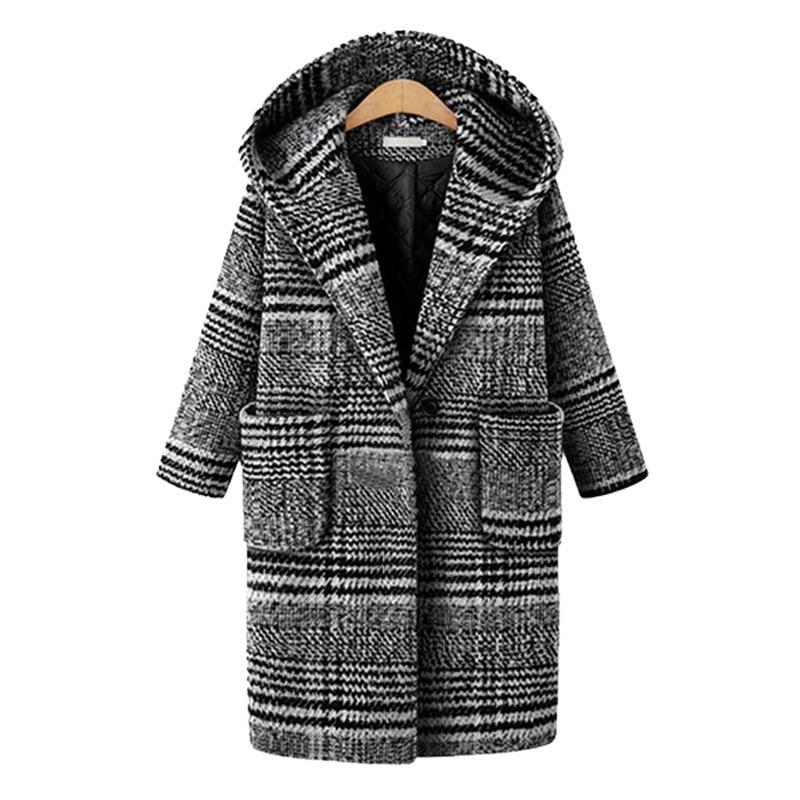 2018 En Vêtements Long Femmes Vestes Manteau Pour Carreaux Mélange Plaid Femelle D'extérieur Hiver De Lâche Mode Automne Laine À vZzFqrWvgw