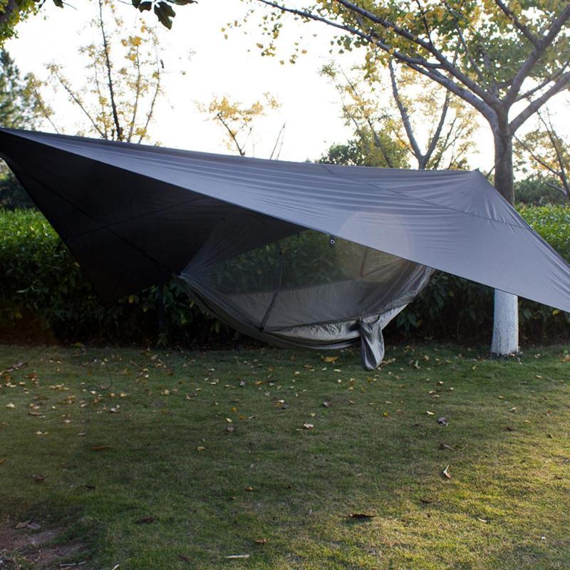Hamac extérieur portatif de Camping avec l'ouverture rapide automatique de tente de tissu de Parachute de moustiquaire, y compris deux fils de mémoire