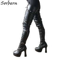 Sorbern/женские сапоги на не сужающемся книзу массивном каблуке 12 см; высокие сапоги до бедра на платформе; сапоги в стиле панк для костюмирован