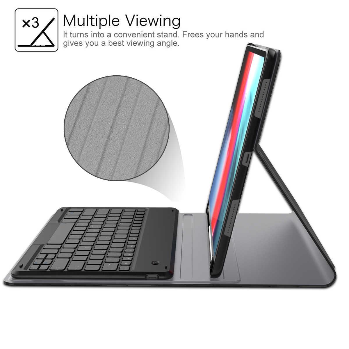 """IPad Pro 12.9 için 2018 Bluetooth klavye tablet kılıfı kalemlik deri akıllı kapak için iPad Pro 12.9 """"2018 abd klavye"""
