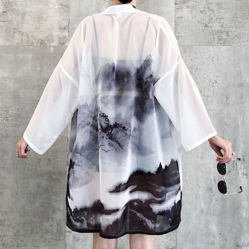 100% Waar 2019 Zonnebrandcrème Vrouw Japanse Traditionele Kimono Vest Chinese Oosterse Inkt-wash Schilderen Dunne Lange Robe Coat Haori Outfits