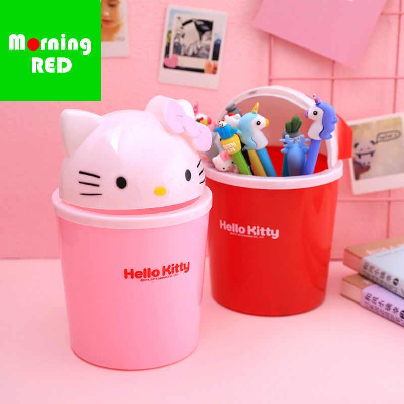 bddea5964e3f Cute Mini Desktop Trash Can Shake Cover Storage Box Hello Kitty Storage  Paper Basket Pen Holder