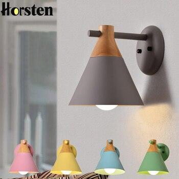 現代の壁灯木製 LED ウォールライト寝室リビングルームマカロン燭台壁ライト燭台ベッドサイドの壁ランプ器具 E27