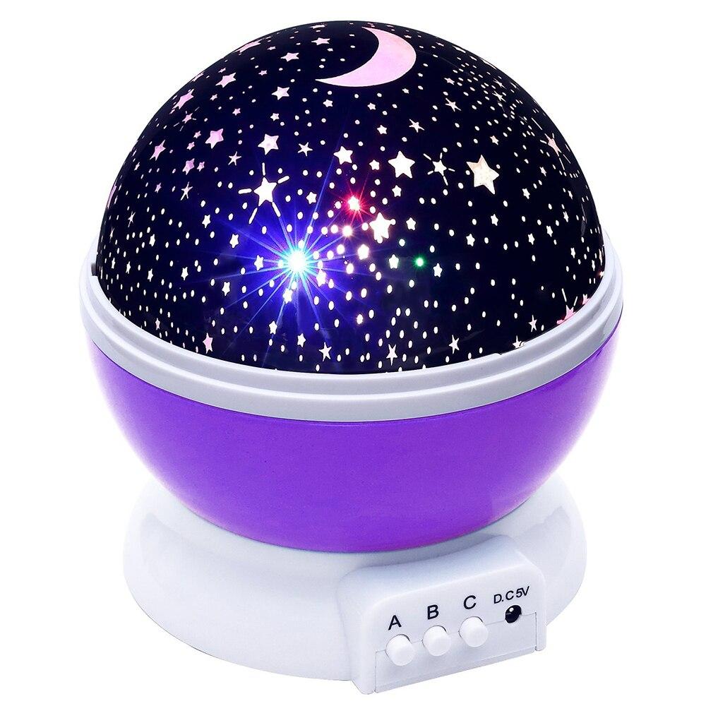 Brillante Lámpara De Proyección Con Luz De Noche Led Cielo Estrellado Estrellas Luz De Rotación Lámpara De Luna Batería Usb Niños Regalos Lámpara De Dormitorio Para Niños