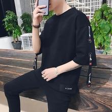 где купить t-shirt 2019 summer short-sleeved male Korean version loose half-sleeved student shirt trend handsome sleeve Black Free shipping по лучшей цене