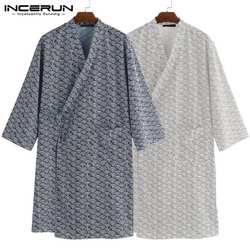 Мода 2019 Для мужчин Ночная рубашка в комплекте с купальным халатом кимоно халат Свободные Багги Lounge Harujuku Masculina одеяние Ночная Ванна Одежда