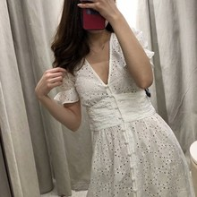 2019 Summer Women White Long Maxi Dress Short Sleeve Crochet Lace Tunic Beach Sundress