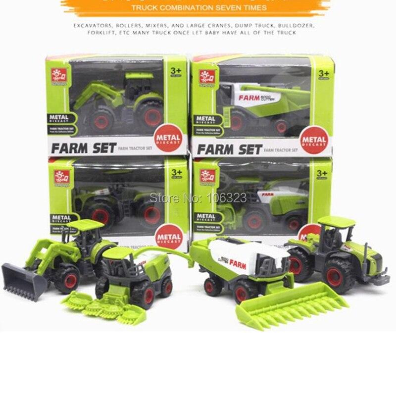 Купить с кэшбэком New 4 in 1 lots Metal + ABS Alloy Farm Trucks Models, Farmer Car Die-cast Toy Vehicles: Corn Rice Harvesters Tractors Bulldozers
