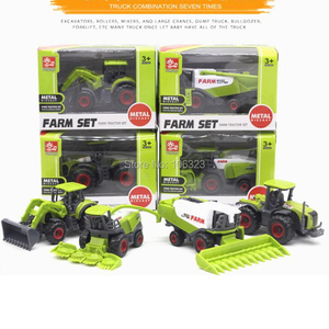 Image 5 - 4 מתוך 1 מגרשים חדשים מתכת + סגסוגות ABS דגמי משאיות חקלאיות, מכוניות חקלאיות יציקות רכב צעצועים: קציר אורז תירס טרקטורים דחפורים