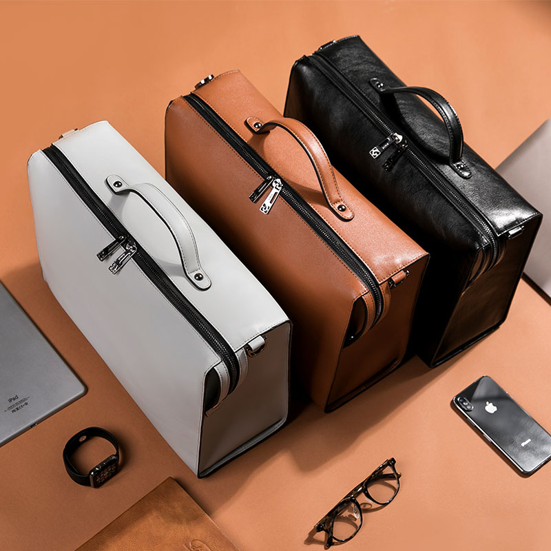 YINUO PU bolso de cuero de alta capacidad bolso de hombro para 14 pulgadas portátil bolso maletín impermeable desmontable bolso de verano