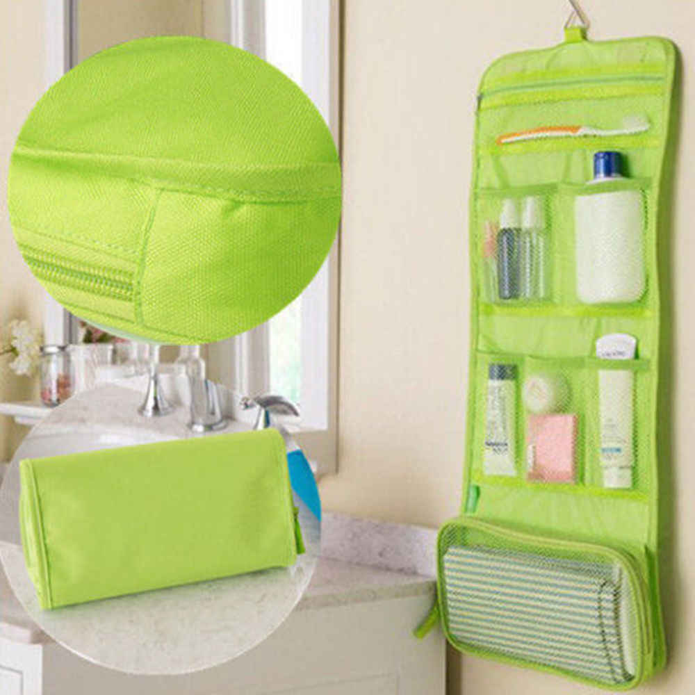 f639f5182f20 Multi-functional Portable Folding Women Cosmetic Bag Travel Toiletry Pouch  Wall Hanging Makeup Storage Bags Sundries Organizer