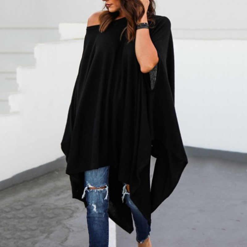 Женские топы, Необычные повседневные блузки размера плюс на одно плечо с рукавом летучая мышь, рубашки
