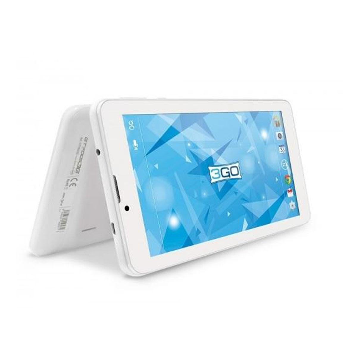 Tablette 7 IPs 3go Gt7005 3G 1024x600 Intel Eco Quad Core 16 GB 1 GB double Cam android 8.1 couleur blanc