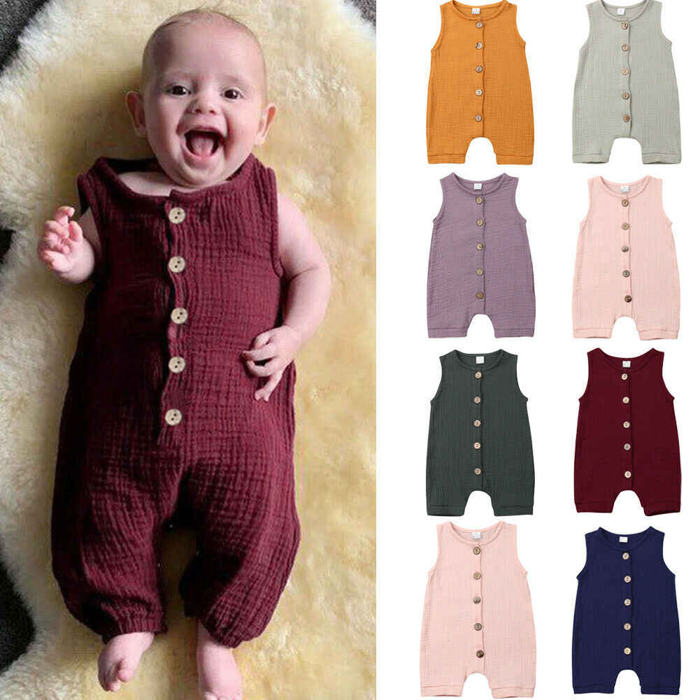 2019 Baby Summer Clothing Newborn Baby Boy Girl Cotton Linen Romper Sleeveless Single Breasted Unisex Jumpsuit Playsuit 0-24M