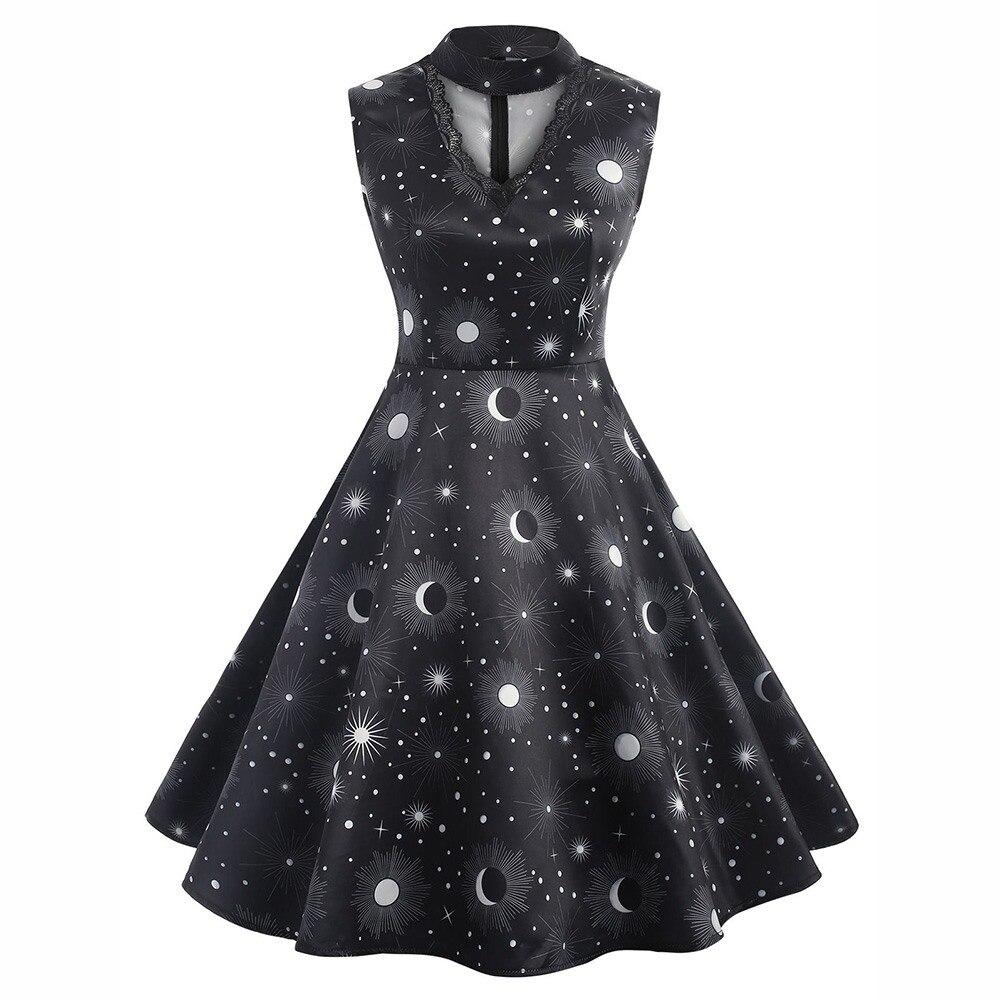 Rosetic Women Gothic Dresses Vintage Black Loose Polka Dots Floral Lace Print Female Fashion Elegant Hollow Out Party Dresses