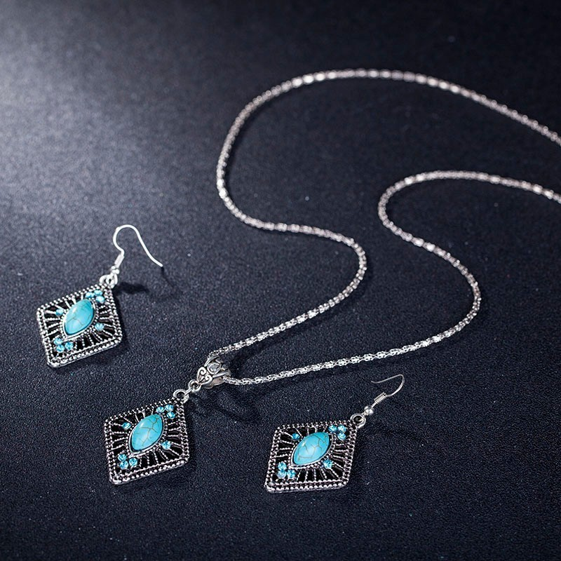 NPASON Turquoisee Stone Jewelry Set Vintage Antique Silver Pendant Necklace Earring Sets fpr Women/Girl's Gift Free shipping