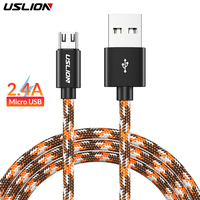 USLION Micro USB Cable 2.4A Fast for Samaung S6 S5 Xiaomi Fast Charging Data Sync Cord Cable For Android Smart Phones Charger Mobile Phone Cables